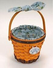 "Longaberger Daisy Basket Set 10"" Tall Wood Bottom Liner Protector Tie-on 16651"