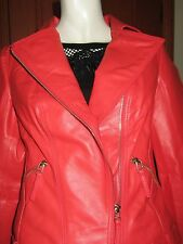 QUEENSPARK AIMEE LEATHER BIKIE JACKET Size 10 tag tangerine in colour solid