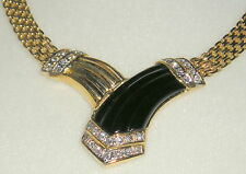 SOLID   14K  Gold     Hand   Craved   Black   ONYX     Diamond    Necklace