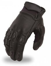 Mens Race Style Quality Black Leather Motorcycle Riding Street Crossover Gloves