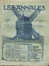 Les annales 1566 29/06/1913 Montmartre Willette Bruant Moulins Chat Suffragettes