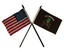 "USA American w/ U.S. Marines USMC Mess With Best Flag 4""x6"" Desk Set Gold Base"