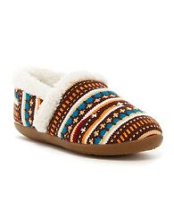 New! TOMS Girls Earth Woolen Fair Isle Faux Shearling Slipper Brown Youth Size 5