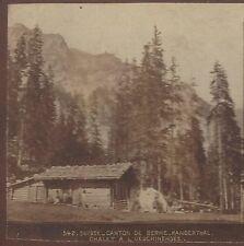 Switzerland: Canton de Cerne Kanderthal Chalet a L'Oeschinesee Rare Stereoview