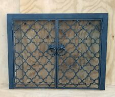 Antique Wrought Iron Fireplace Screen w/ Doors Cabinet Style Quatrefoil Pattern