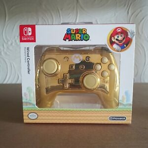 PowerA Nintendo Switch Super Mario Gold Chrome Wired Controller Special Edition