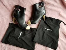 $2,2k  CHANEL Cap Toe Black Leather Booties  Ankle Boots Size 40 9.5