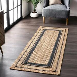 Runner Rug 100% natural jute braided handmade carpet rustic modern look area rug