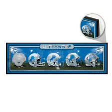"""DETROIT LIONS HELMET DESIGN THROUGHOUT THE YEARS WOOD SIGN 9""""x30"""" NEW WINCRAFT"""