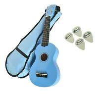 Light Blue Soprano Beginners Ukulele Free Gig Bag & 4 Felt Picks. By Clearwater