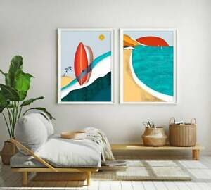 Surf Print Set, Beach Poster Diptych, Surf Wall Art, Nautical Colorful Landscape