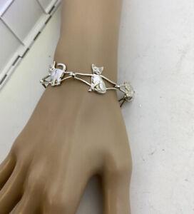 Vintage USA  Designer Kabana Cats Sterling Silver Statement Bracelet 8 INCHES