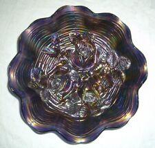 Antique Northwood Blue Rose Show Carnival Glass Ruffled Bowl W/ Restoration