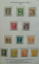 Scott #704 to 715. 1932 Washington Bicentennial Stamps Set.1/2 Cents to 10 Cents