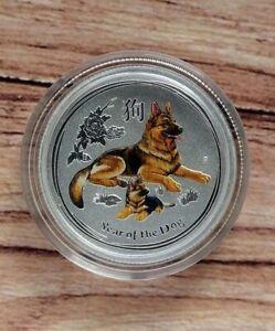 2018 Perth Mint Lunar Dog 1/4oz coloured Silver Bullion coin in capsule