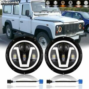 """2X 7"""" Inch LED Headlight Halo Angel Eyes with Aperture for Land Rover Defender"""