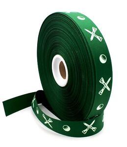 "7/8"" Golf Balls & Tees Forest Green Grosgrain Ribbon - Made in USA"