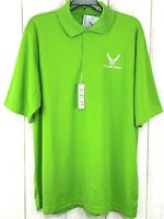 Mens Core 365 Sz L Green USAF Embroidered Logo Polo Shirt Short Sleeve Stretch