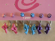 Body Piercing Jewellery 3 Pairs Birds Naval Belly Ring Purple Turquoise & Pink