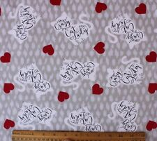 """Snuggle Flannel* """"Crazy Cat Lady"""" & Red Hearts on Gray* 100% Cotton Fabric Bty"""