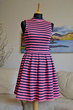 BNWT SUPERDRY NEW Premium Scuba Dress Pink Coral Navy Striped Sz. XS - UK 6