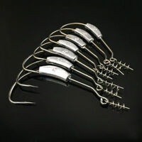 25pcs Weighted Offset Jig Hooks with Spring Twist Lock Soft Worm Pike 1/0-5/0#