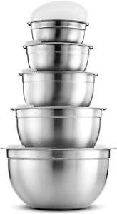 Premium Stainless Steel Mixing Bowls With Airtight Lids Various Sizes (5 Piece)