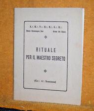 RITUALE PER IL MAESTRO SEGRETO LIBRETTO BOLLATO IN HOC SIGNO VINCES ROMA 1945