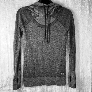 Under Armour Threadborne Top Seamless Funnel Neck Shirt Womens XS Heatgear Gray