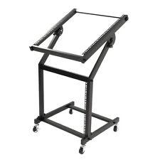 19U Mixer Studio Rack Stand on Wheels Black