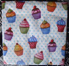 """Lot 3 serviettes en papier """"Minis cupcakes muticolores"""" (Paper Napkins)"""