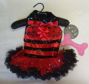 Pawpatu Ladybug Dog Halloween Costume Satin Sequin Ruffle Dress Black/Red Sz M