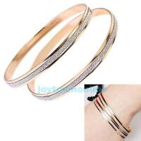 2Pcs Women Crystal Rhinestone Gold Plated Cuff Bracelet Diamond Bangle Jewelry
