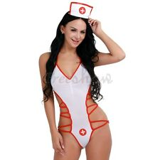 Lady Adult Women White Nurse Costume Fashion Jumpsuit Outfit Strappy Lingerie