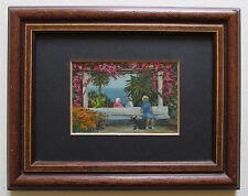 Im Park Original kleines Ölbild mit Passepartout im Holzrahmen