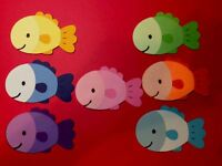 """DIE CUTS FISHES Set of  6 """"YOU CHOOSE COLORS"""" 2"""" H Scrapbooking Party Decoration"""