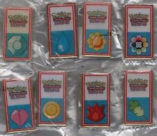 POKEMON 2001 KANTO LEAGUE FIRST SET OF 8 BADGE/PINS WHITE BUTTONS/PINS! VHTF!