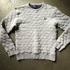 Men's Fred Perry Marl Quilted Heather Gray Crewneck Pullover Sweatshirt Sz Small