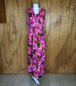 Vintage Aloha Loni Barkcloth Maxi Dress Hawaiian Tropical Floral Ruffles Tiki XL