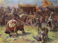 Painting Landscape Medieval Ajdukiewicz Jousting Canvas Art Print