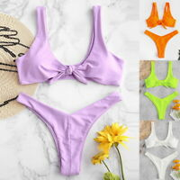 Women Summer Tie Front Neon Bikini Top And Bottoms Set Summer Beach Swimsuits 34