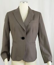 Talbots 12 Petite Jacket Stretch Career Beige Wool Blend 1 Button Peak Collar