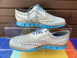 Cole Haan Zerogrand Wing Ox Grey & Blue Leather Lightweight Brogues / Uk Size 10