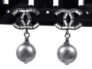 Auth Chanel Coco Mark Logo Swing Pierced Earrings Silver-tone Women K1829