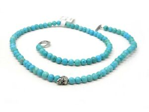 Degs & Sal 24 inch Sterling Silver Skull and Turquoise Beaded Necklace NWT