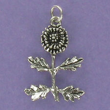 Dandelion Charm Sterling Silver for Bracelet Plant Weed Flower Lions Tooth Wish