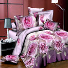 Light Purple Floral Queen Size Bed Quilt/Doona/Duvet Cover Set New Pillow Cases