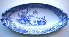 Beurrier, ravier ovale signé Creil Montereau modèle YEDO en bleu