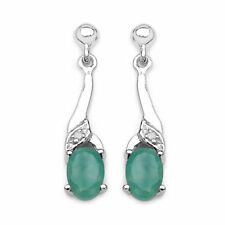 Emerald Diamond Sterling Silver Fine Earrings
