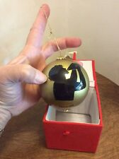 Hand Painted Glass Christmas Ornament Hawaii Conch Blower Gold/black In Red Box